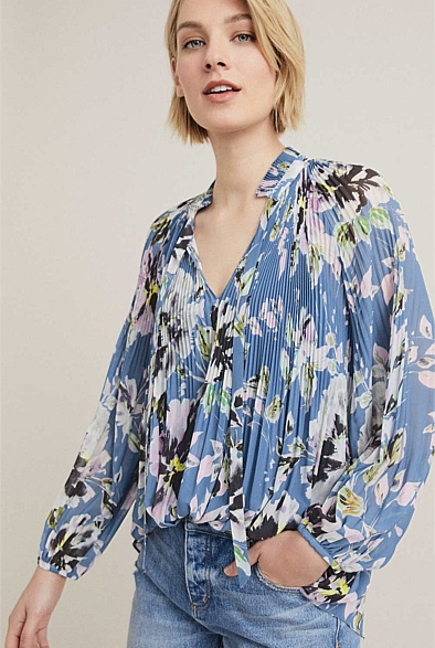 Pleat Print Georgette Blouse