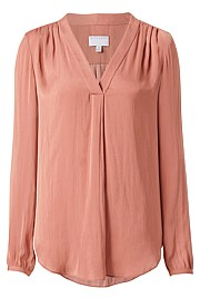 Cuff Sleeve V Neck Blouse
