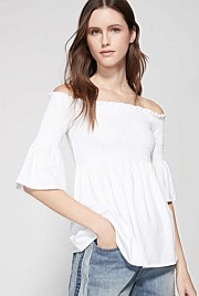 Shirred Cold Shoulder Top