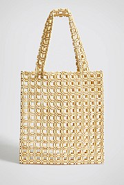 Cara Wood Beaded Tote