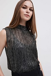 Metallic Pleat Top