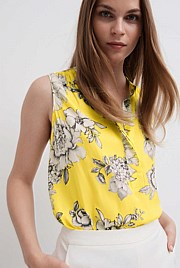 Print Half Placket Blouse