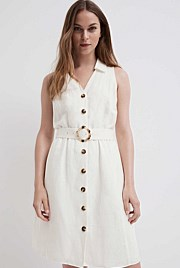 Belted Collar Dress