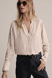 Stripe Half Placket Shirt