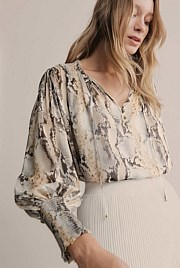 Print Shirred Tie Blouse