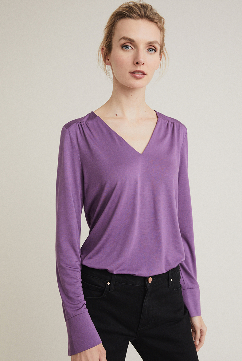 Gathered V Neck Top