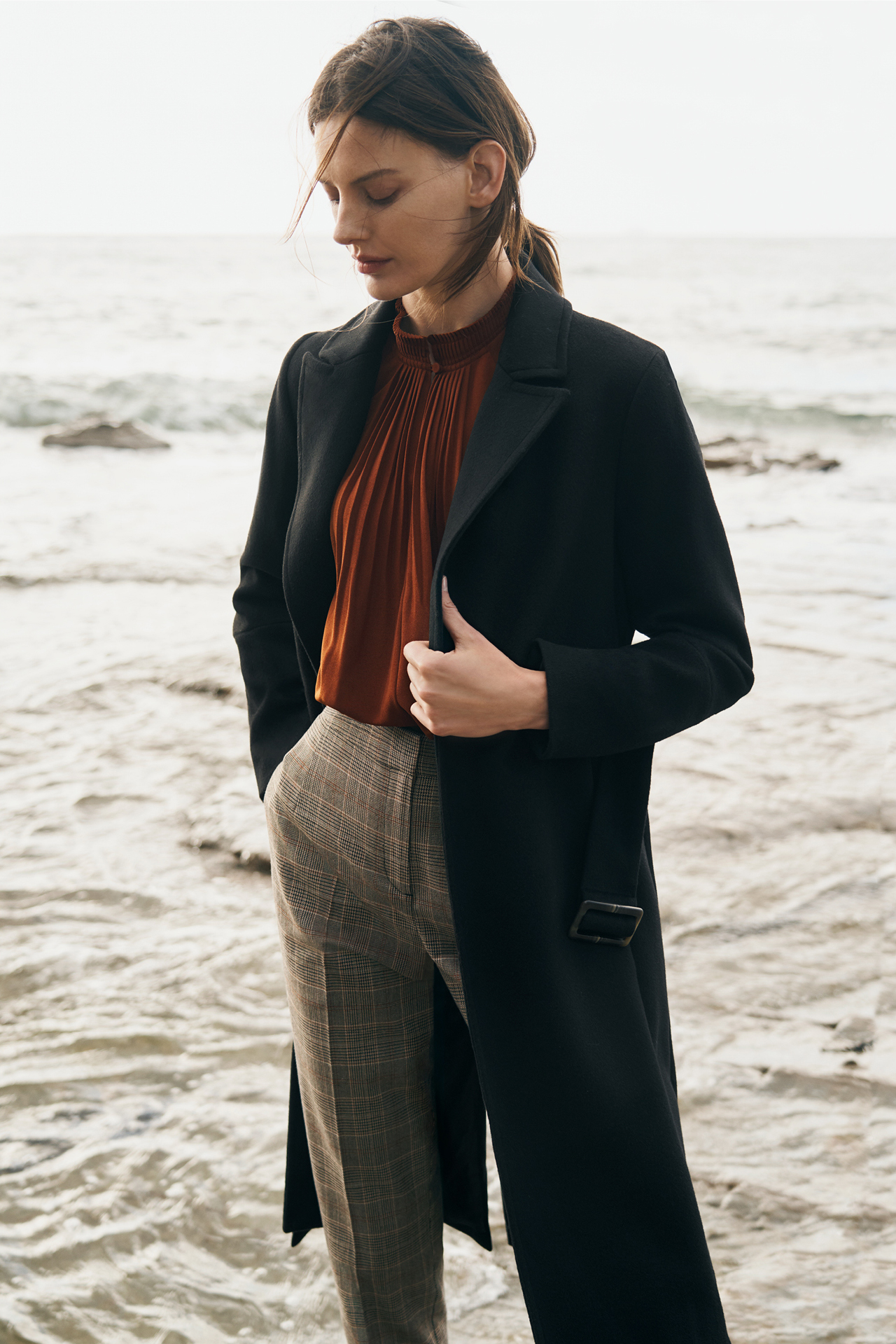 Woman wearing Coat, Pleated Raglan Tank and Check Pant
