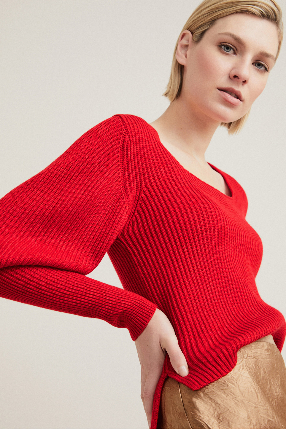 Woman wearing the Square Full Sleeve Knit