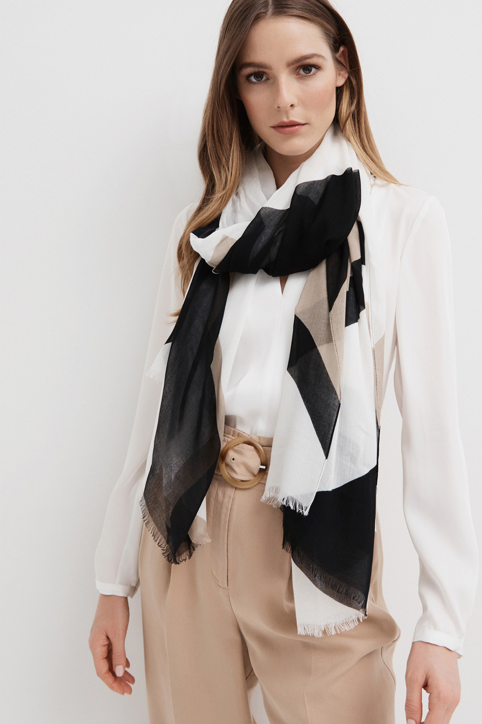 Woman wearing Shawl Collar Blouse, Beltered Tapered Pant and Geo Modal Scarf