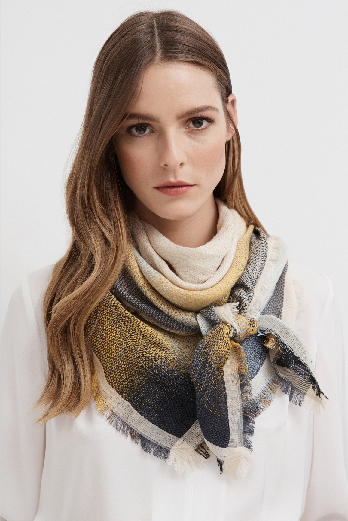 Woman wearing Shawl Collar Blouse and Ombre Linen Scarf