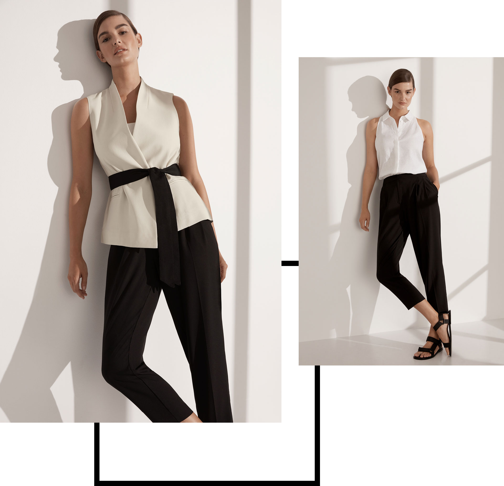 Woman on the left wearing the Tie Vest and Soft Tapered Pant. Woman on the right wearing the Sleeveless Halter Shirt, Soft Tapered Pant and Catalina Sandal