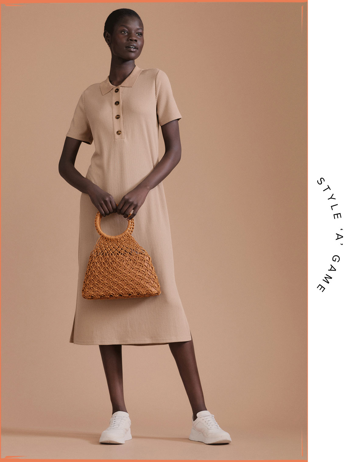 Woman wearing the Polo Jersey Dress, Skye Sneaker and Lucia Macrame Bag
