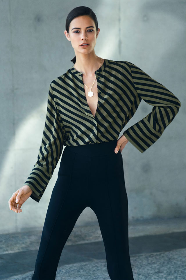 Woman wearing the Stripe Shirt, Milano Split Front Pant and Hazel Layered Necklace