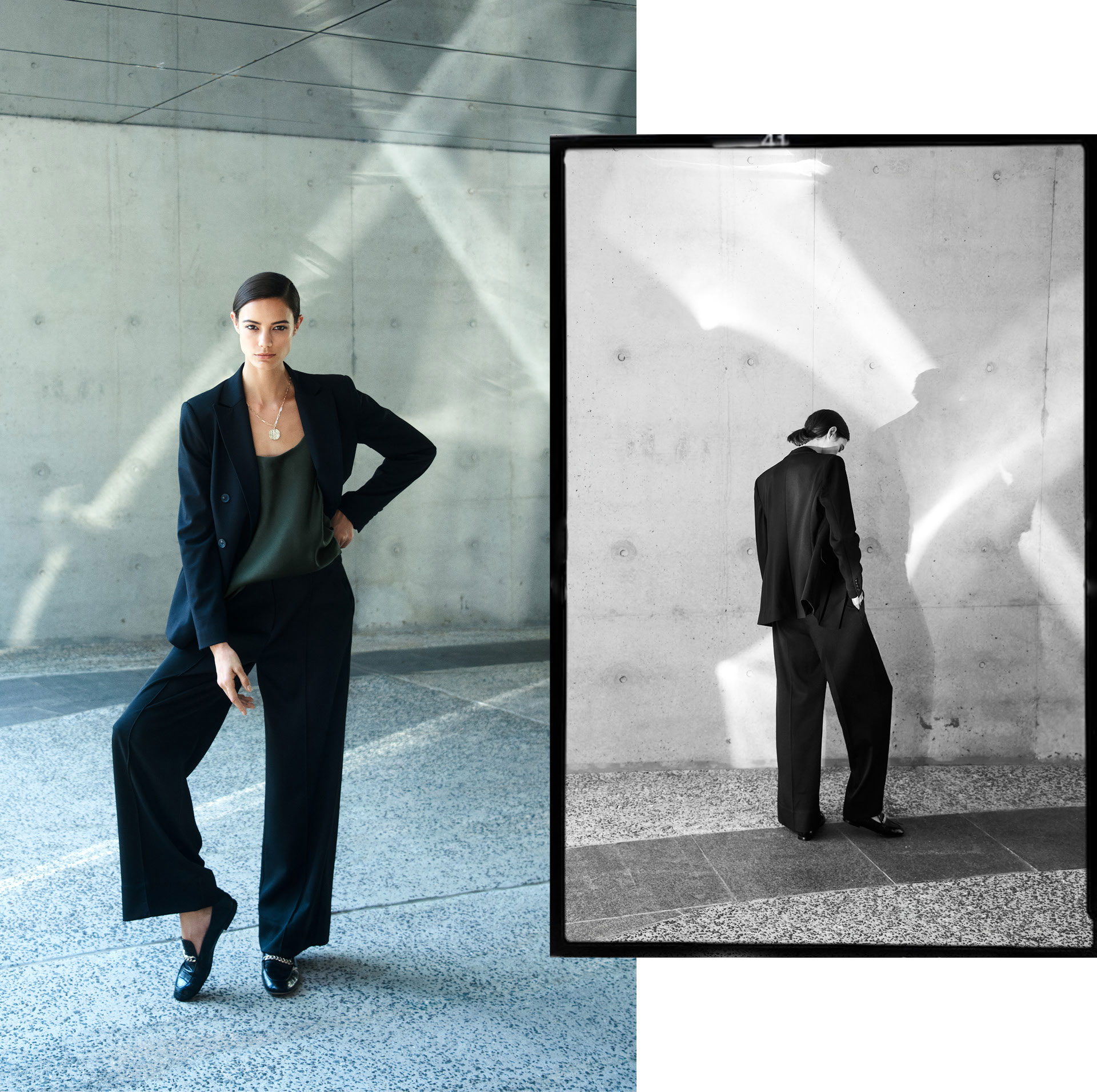 Woman wearing the Double Breasted Jersey Blazer, Silk Scoop Neck Camisole, Wide Leg Pant, Mason Textured Loafer and Hazel Layered Necklace