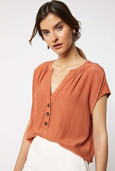 Woven Splice Button Front Top