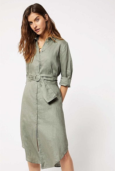 Curved Hem Shirt Dress