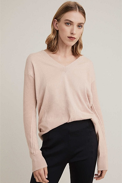 V Neck Seamed Knit
