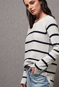 Raglan Sleeve Stripe Knit
