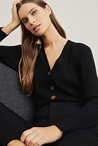 Fine Rib Button Cardigan